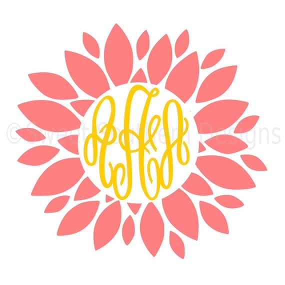 Shop Floral Monograms At Littlebrownnest Etsy Com: Dahlia Monogram Flower SVG DXF PDF Instant Download Design