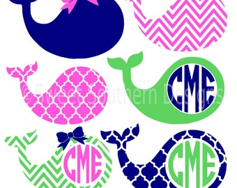 Monogram whale preppy chevron pattern bow SVG instant download design for cricut or silhouette