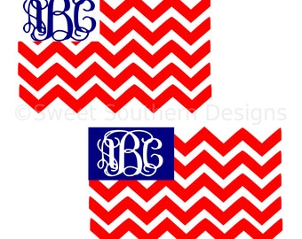 Monogram chevron American flag fourth of July Memorial Day SVG instant download design for cricut or silhouette