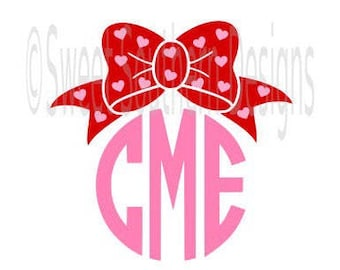 Valentine hearts monogram bow SVG instant download design for cricut or silhouette
