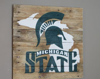 """Michigan State Pallet Wood Sign - Pallet Sign 20"""" x 20"""""""