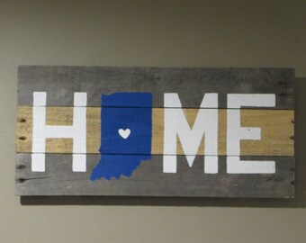 """Indiana Home Pallet Wood Sign - Pallet Sign 10"""" X 20"""""""