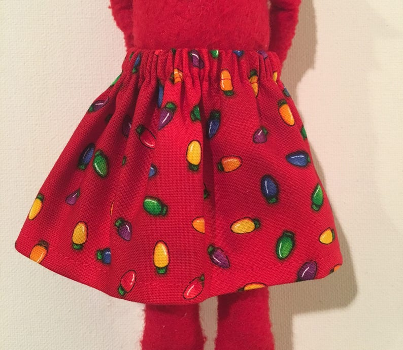 aeba7366d57d9 Little Elf Doll Skirt Red w/ Xmas String of Mini Light Bulbs All Over Fits  Red Christmas Scout Elf