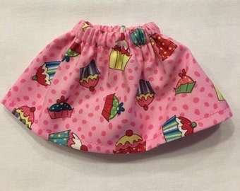 Christmas Elf Girl Skirt Pink Cupcakes for Birthday Visit  Polka Dots All Over - Sweet Treats Clothing for Elves