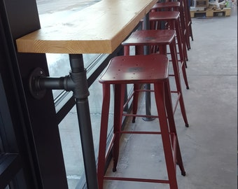 "Bar Made with 1 1/4"" Iron Pipe and Solid Wood Top / Industrial Bar"