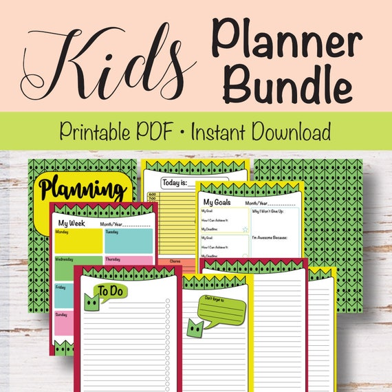 kids daily weekly planner planner goals planner to do list etsy