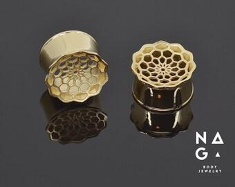 3D Printed Gold HoneyComb Gauges Custom Size