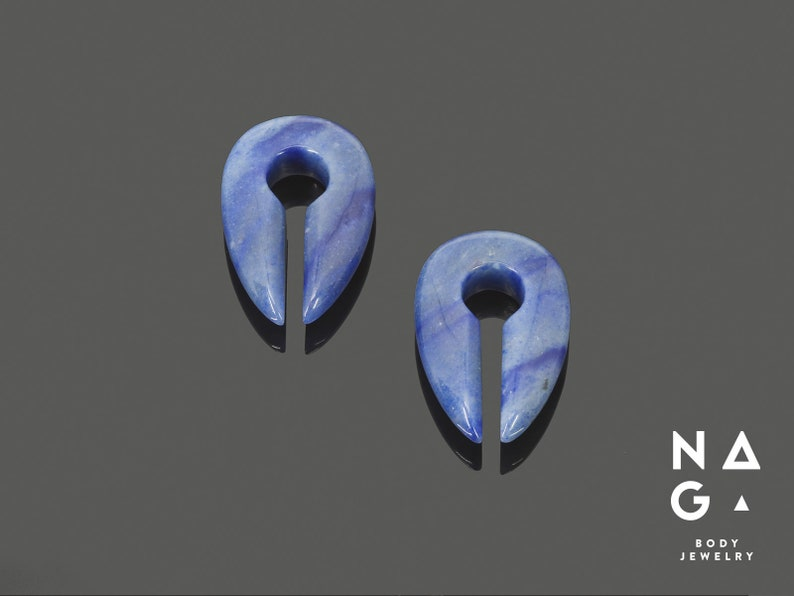 WHOLESALE AVAILABLE Blue aventurine drop shaped keyhole ear weights organic stone ear weights
