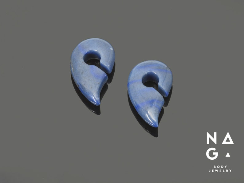 organic stone ear weights WHOLESALE AVAILABLE Blue aventurine fancy shaped keyhole ear weights