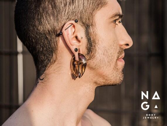 Light Pink Quartz Square Brass Hangers  Ear Weights