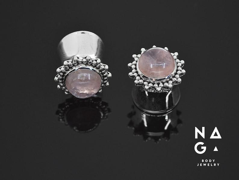2g 12mm 16mm 10mm WHOLESALE AVAILABLE 916 Rose quartz silver ear plugs gauges 8mm 58 6mm 0g - handmade 12 14mm 00g