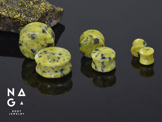 3mm-22mm Plug Oreille Noir Agate Organic Nature Pierre Tunnel Piercing 1//13