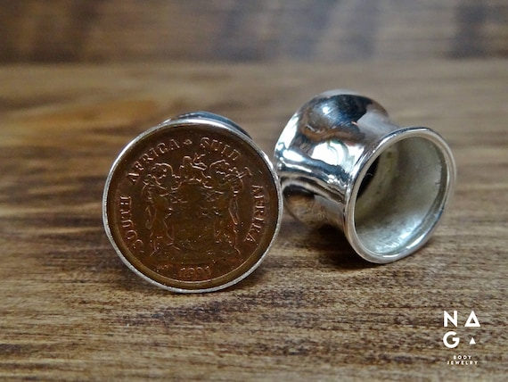 Silver and Authentic South African Coins Ear Plugs Silver Ear Plugs 12mm 12 gauges stretchers eyelets Handmad 1 Pair Double Flared