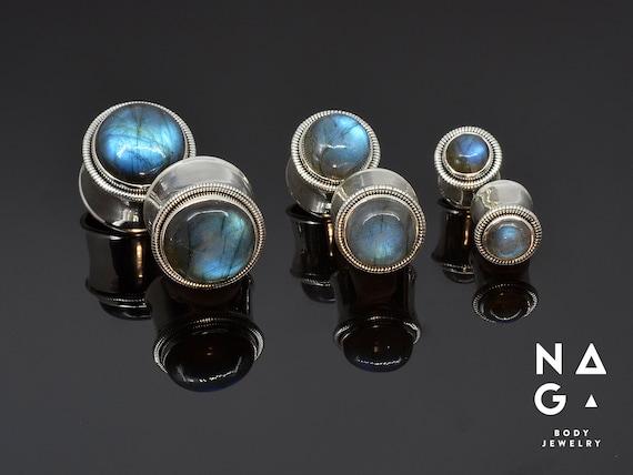 Labradorite silver ear plugs gauges 12 10mm 34 8mm 20mm 58 18mm 2g 16mm 0g 1116 00g 6mm 14mm 12mm 916