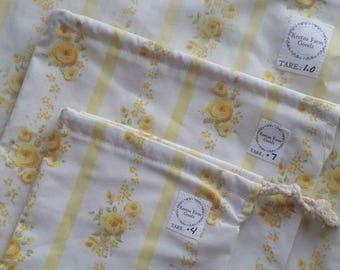 Drawstring Reusable Produce Bags ~ Set of 4 ~ Vintage Fabric