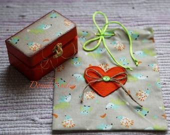 Gift kit for bookmark Fox. Fabric gift bag with wooden gift box