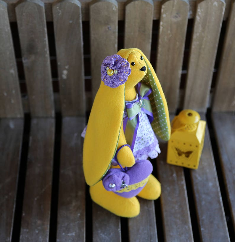 Easter gift Tilda yellow rabbitbunnyhare doll with small heart incredible gift Easter bunny Gift for womanhermother