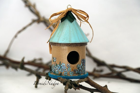 Decorative Wooden Hand Painted Birdhouse Forget Me Nots Etsy