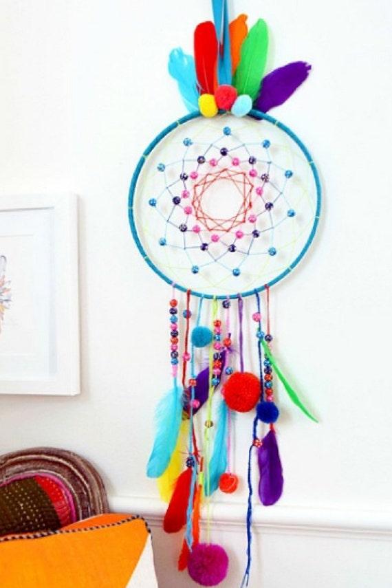 Handmade Custom BohoHippie Chic Kids Dreamcatcher Pom Poms Etsy Simple Dream Catcher Poem For Kids