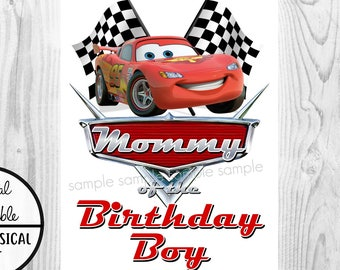 photograph regarding Lightning Mcqueen Printable Decals named Autos Birthday Iron Upon Blouse Go Lightning McQueen Etsy