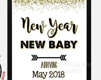 """New Years Pregnancy Announcement Sign, Pregnancy Reveal, Printable, Instant Download, Pregnancy Reveal Sign, 8""""x10"""", 16""""x20"""", May 2018"""