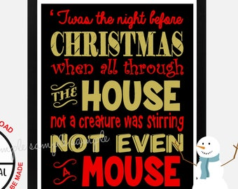Twas the Night Before Christmas Sign, Christmas Sign, Wall Art, Poster Sign, Printable, Instant Download