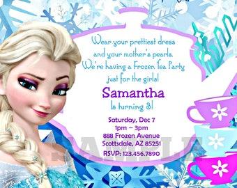 Frozen bday invite etsy frozen tea party invitation disney princess elsa birthday party invitation birthday party invite digital personalized customized filmwisefo