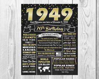 1949 The Year You Were Born 70th Birthday Sign Back In Chalkboard Style Poster Printable Facts 70 Years Ago Customized