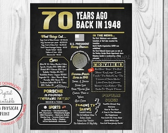 70th birthday etsy 70 years ago back in 1948 gold chalkboard style poster 1948 the year you were born 70th birthday poster sign printable instant download m4hsunfo