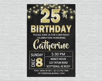 25th Chalkboard Birthday Invitation
