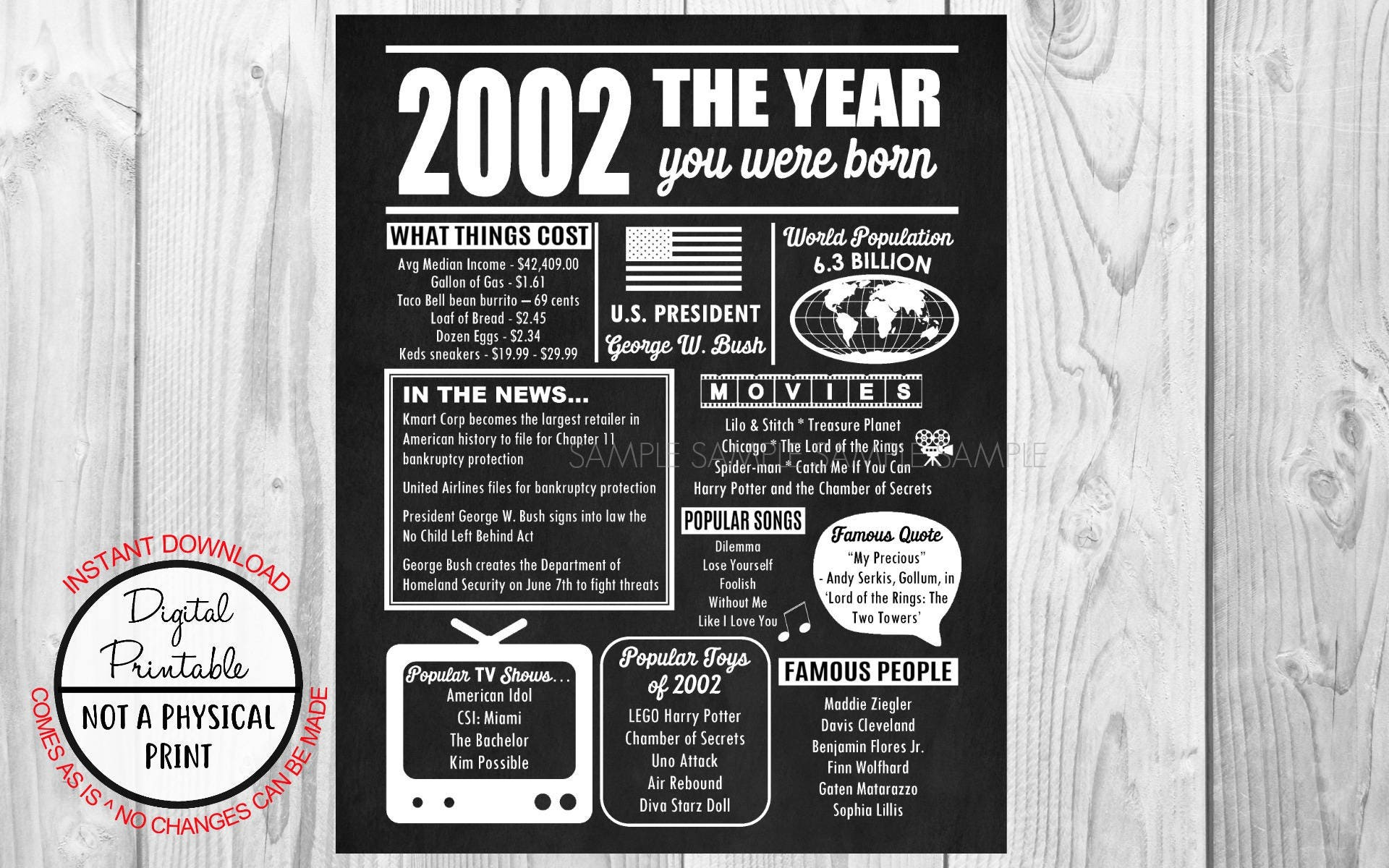 2002 The Year You Were Born, Birthday Poster Sign, Back in 2002 Newspaper  Style Poster, Printable, 2002 Facts, years ago