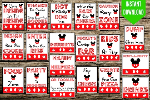 Marvelous Mickey Mouse Birthday Party Signs 8X10 Printable Instant Download Come Inside Its Fun Inside Hot Diggity Dog Weve Got Ears Download Free Architecture Designs Scobabritishbridgeorg