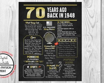 70 Years Ago Back in 1948 Gold Chalkboard Style Poster, 1948 The Year You Were Born, 70th Birthday Poster Sign, Printable, Instant Download