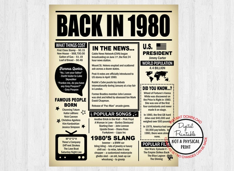 Back in 1980, Born in 1980, 39th Birthday Poster Sign, 39 Years Ago  Newspaper Style Poster Decoration, Digital, Printable, 1980 Facts