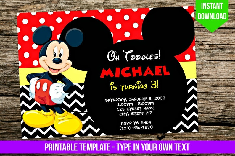 Mickey Mouse Invitation Diy You Print Birthday Party Etsy