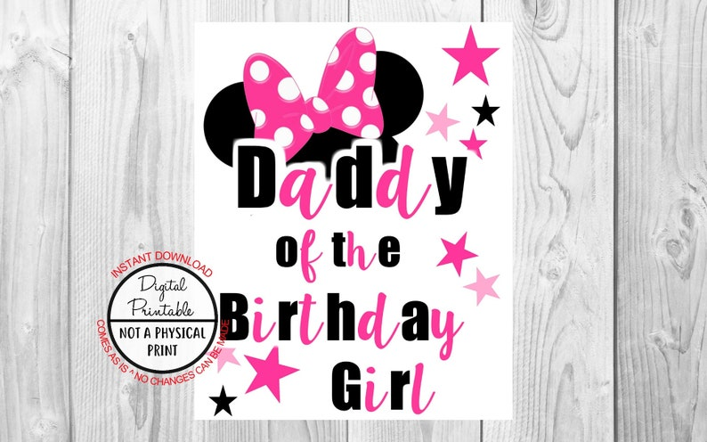 d13920c3 Daddy of the Birthday Girl Minnie Mouse Iron On Shirt | Etsy