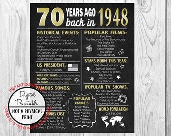 Back in 1948 Chalkboard Style Poster, 1948 The Year You Were Born, 70th Birthday Poster Sign, Printable, 70 years ago, Anniversary Gift Gold