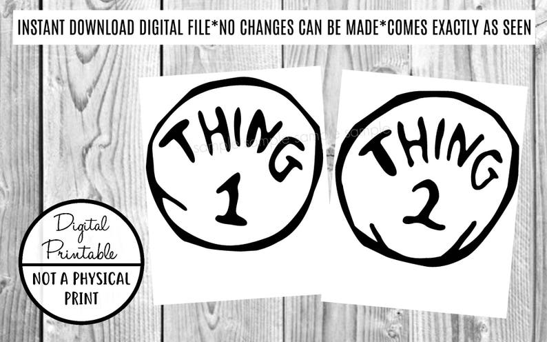 image regarding Thing 2 Logo Printable named Matter 1 Matter 2 Iron Upon Disney Shift - Clip Artwork - Printable - Fast Obtain