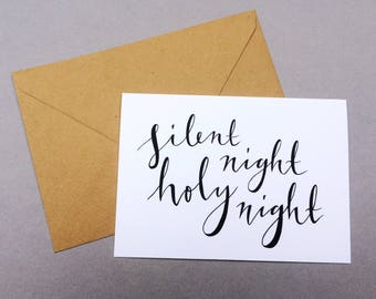 Christmas Cards - 'Silent Night' // 1 pack / 5 pack / 10 pack // A6 Greetings Card // Minimal Calligraphy Christian Carol Cards