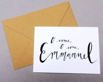 Christmas Cards - 'O Come Emmanuel' // 1 pack / 5 pack / 10 pack // A6 Greetings Card // Minimal Calligraphy Christian Carol Cards