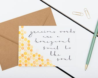 Bible Verse Card - Gracious Words Are A Honeycomb - Proverbs 16:24 - Friendship / Just Because / Encouragement / A6 Watercolour Card