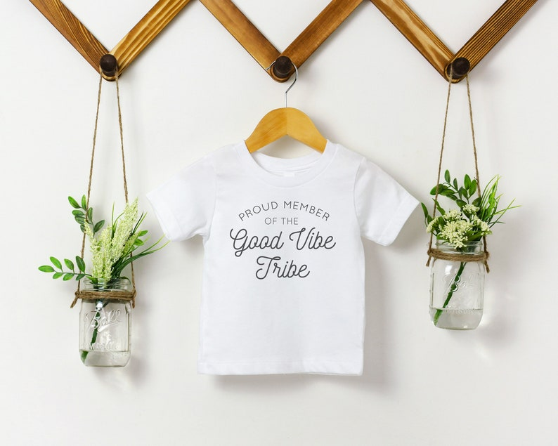 Good Vibe Tribe Kids Shirt Positive Toddler Tshirt Baby image 0