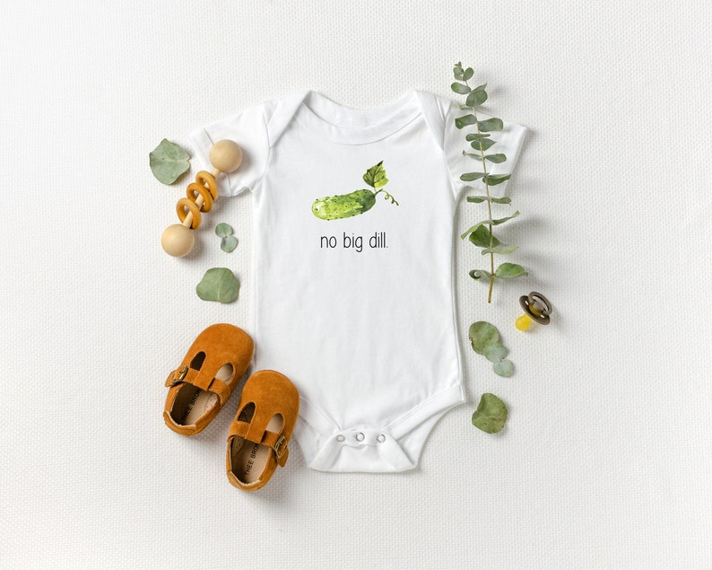 No Big Dill Funny Onesie® Pickle Gardening Shirt Baby image 0