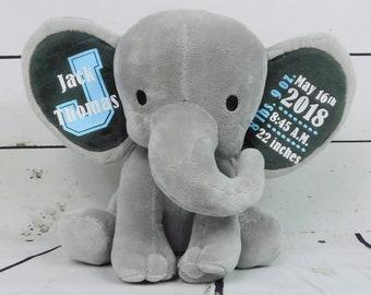 New Baby Boy Gift, Custom Elephant Stuffed Animal with Birth Stats, Chessa Creations, NEW