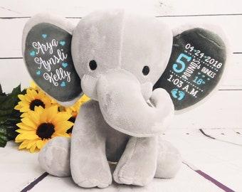 Birth Stats Baby Gift for Boy or Girl Stuffed Animal Cute Custom Elephant Newborn Gift New Baby Announcement, Baby Sleeper, Chessa, Teal