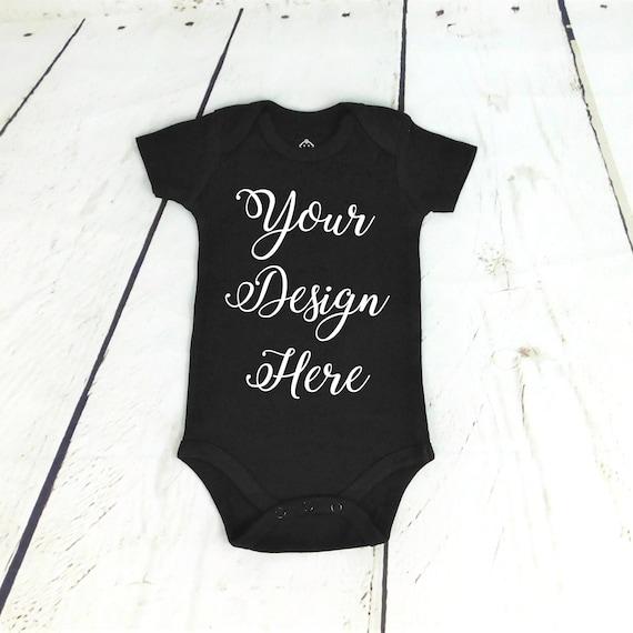 a185f0533257 Custom Black Baby Bodysuit / Custom Baby Bodysuit / Black | Etsy