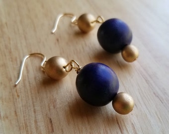 Blue and Gold Bauble Earrings