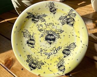Bee Happy, Honey Bee - Plate