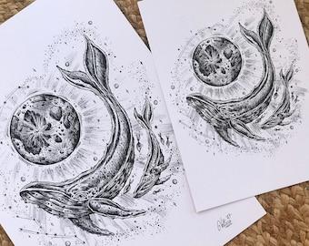 Moonlight Swim - A5 print