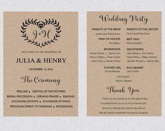 Printable Boho Wedding Program Template Card Floral Etsy